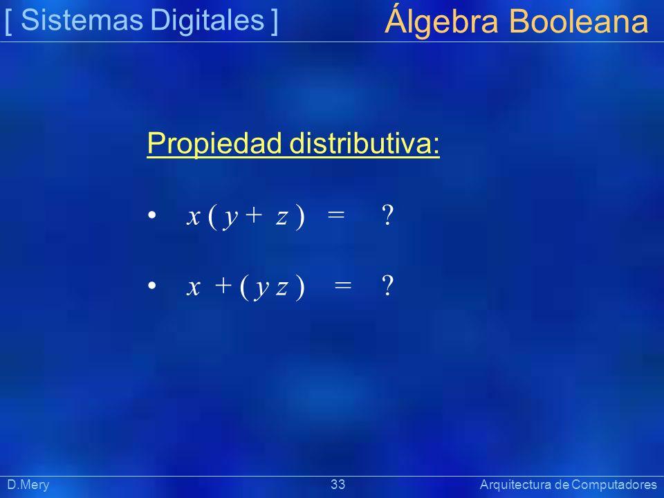 [ Sistemas Digitales ] Präsentat ion Álgebra Booleana D.Mery 33 Arquitectura de Computadores Propiedad distributiva: x ( y + z ) = ? x + ( y z ) = ?