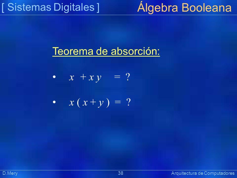 [ Sistemas Digitales ] Präsentat ion Álgebra Booleana D.Mery 38 Arquitectura de Computadores Teorema de absorción: x + x y = ? x ( x + y ) = ?