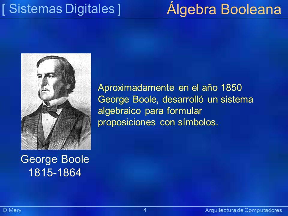 [ Sistemas Digitales ] Präsentat ion Álgebra Booleana D.Mery 4 Arquitectura de Computadores Aproximadamente en el año 1850 George Boole, desarrolló un