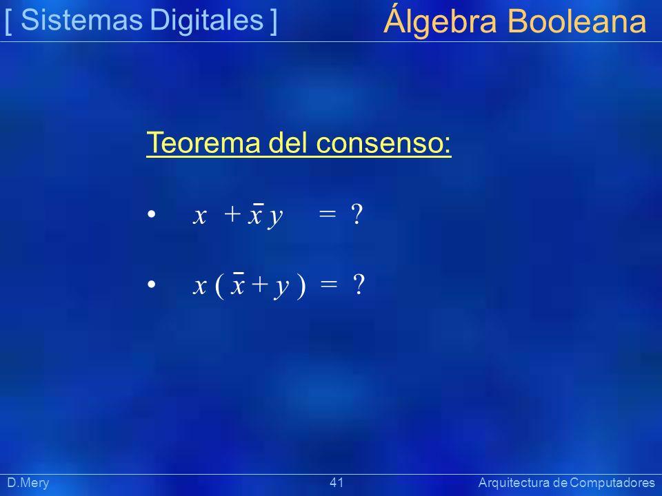 [ Sistemas Digitales ] Präsentat ion Álgebra Booleana D.Mery 41 Arquitectura de Computadores Teorema del consenso: x + x y = ? x ( x + y ) = ?