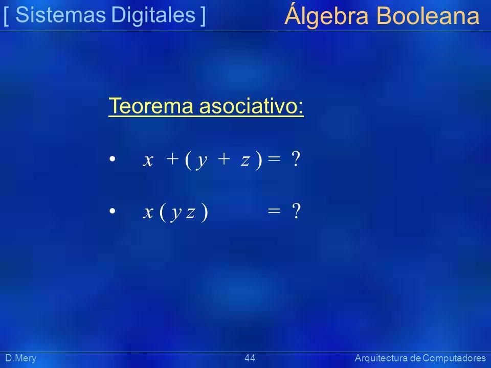 [ Sistemas Digitales ] Präsentat ion Álgebra Booleana D.Mery 44 Arquitectura de Computadores Teorema asociativo: x + ( y + z ) = ? x ( y z ) = ?