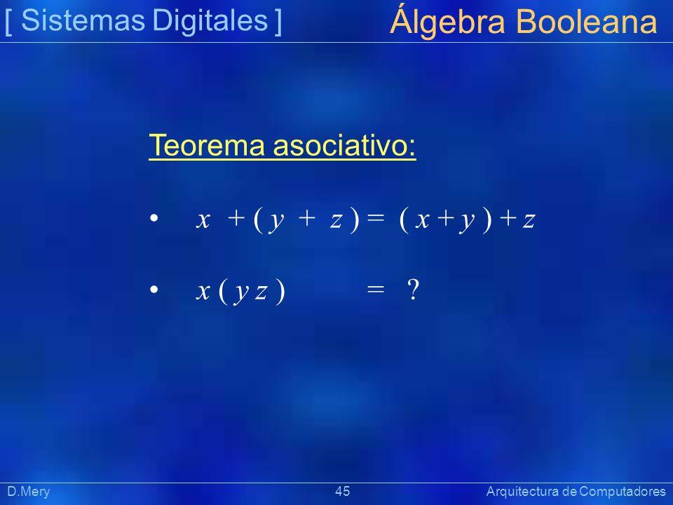 [ Sistemas Digitales ] Präsentat ion Álgebra Booleana D.Mery 45 Arquitectura de Computadores Teorema asociativo: x + ( y + z ) = ( x + y ) + z x ( y z
