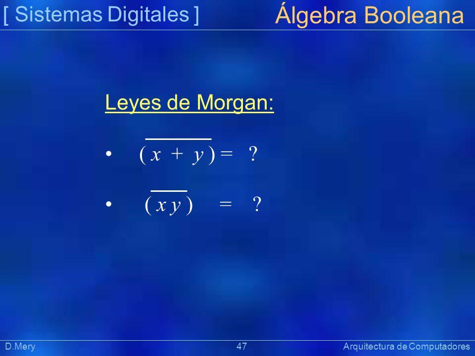 [ Sistemas Digitales ] Präsentat ion Álgebra Booleana D.Mery 47 Arquitectura de Computadores Leyes de Morgan: ( x + y ) = ? ( x y ) = ?