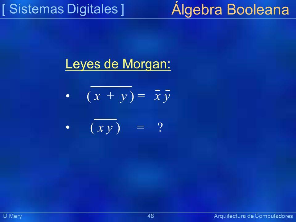 [ Sistemas Digitales ] Präsentat ion Álgebra Booleana D.Mery 48 Arquitectura de Computadores Leyes de Morgan: ( x + y ) = x y ( x y ) = ?