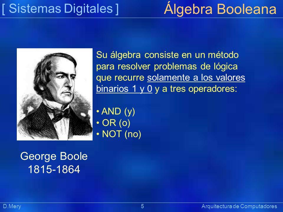 [ Sistemas Digitales ] Präsentat ion Álgebra Booleana D.Mery 5 Arquitectura de Computadores Su álgebra consiste en un método para resolver problemas d