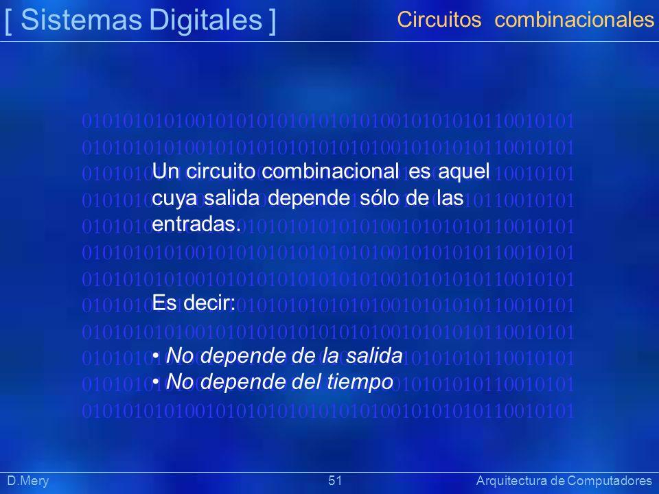 010101010100101010101010101010010101010110010101 [ Sistemas Digitales ] Präsentat ion Circuitos combinacionales D.Mery 51 Arquitectura de Computadores