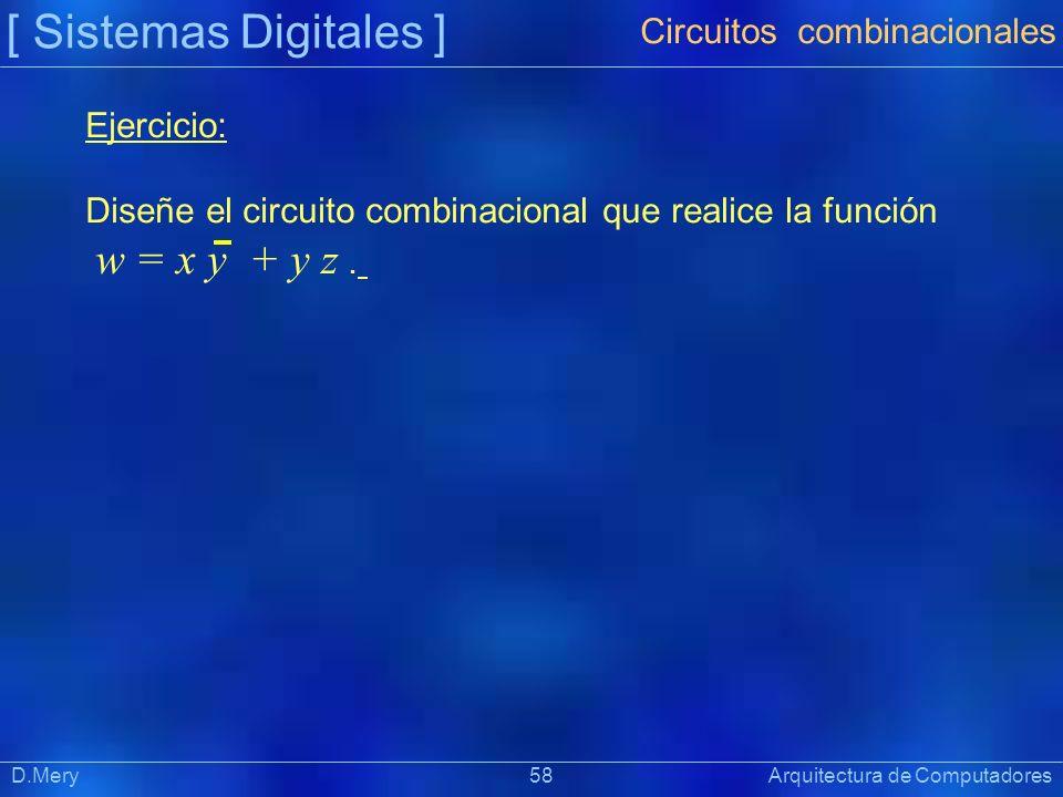 [ Sistemas Digitales ] Präsentat ion D.Mery 58 Arquitectura de Computadores Ejercicio: Diseñe el circuito combinacional que realice la función w = x y