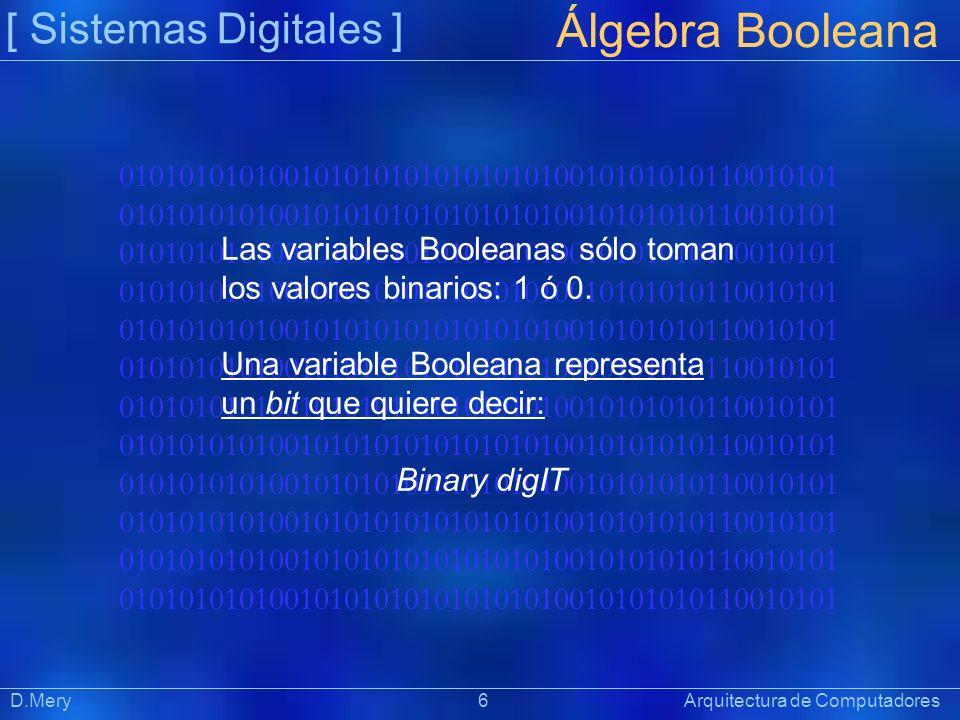 010101010100101010101010101010010101010110010101 [ Sistemas Digitales ] Präsentat ion Álgebra Booleana D.Mery 6 Arquitectura de Computadores Las varia