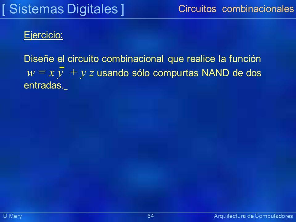 [ Sistemas Digitales ] Präsentat ion D.Mery 64 Arquitectura de Computadores Ejercicio: Diseñe el circuito combinacional que realice la función w = x y