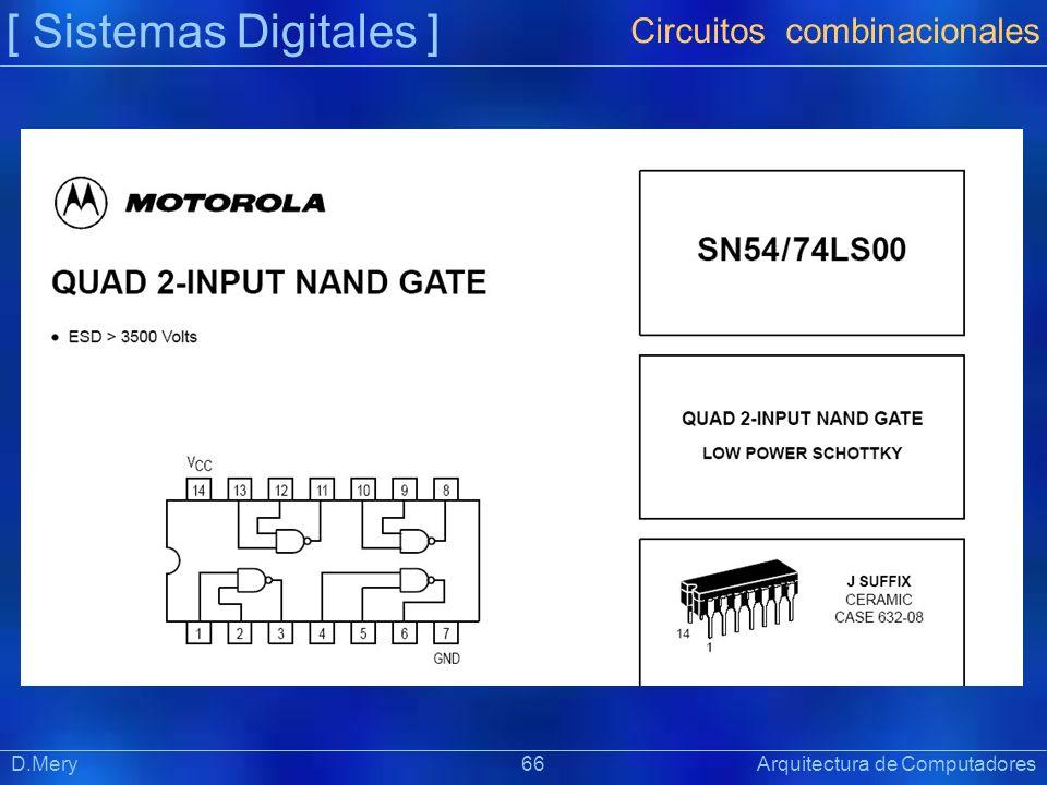 [ Sistemas Digitales ] Präsentat ion D.Mery 66 Arquitectura de Computadores Circuitos combinacionales