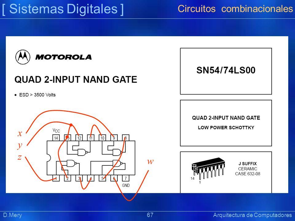[ Sistemas Digitales ] Präsentat ion D.Mery 67 Arquitectura de Computadores Circuitos combinacionales xyzxyz w