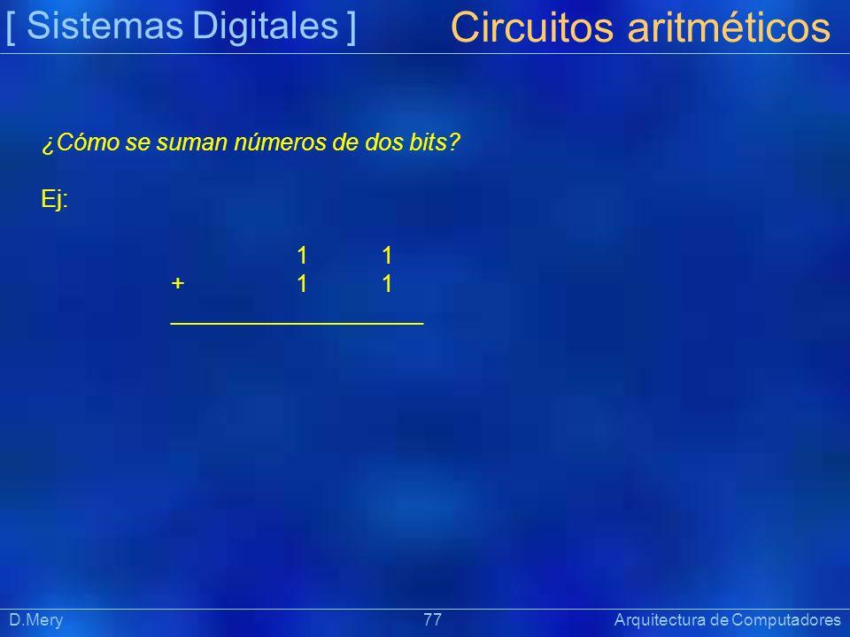 [ Sistemas Digitales ] Präsentat ion D.Mery 77 Arquitectura de Computadores Circuitos aritméticos ¿Cómo se suman números de dos bits? Ej: 1 + 1 1 ____