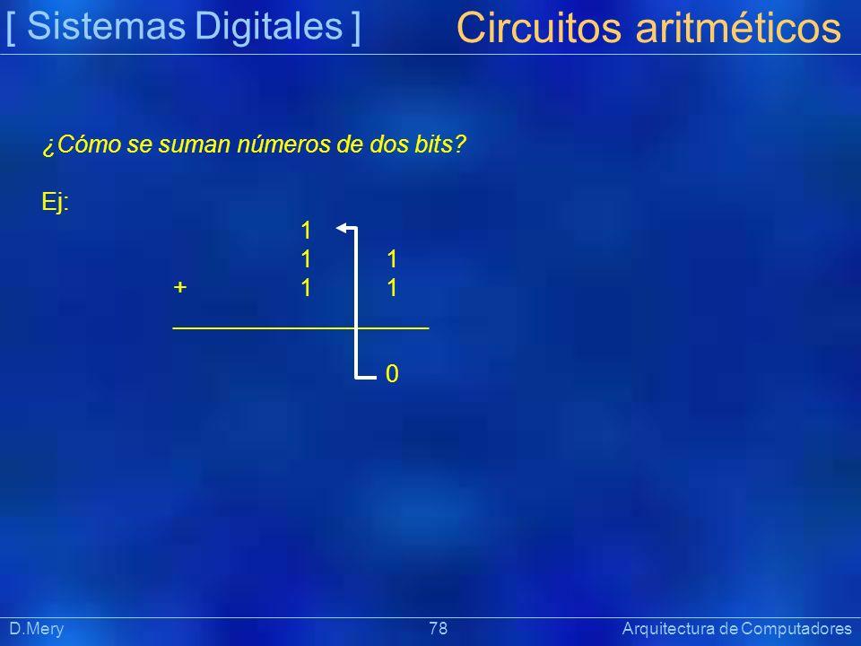 [ Sistemas Digitales ] Präsentat ion D.Mery 78 Arquitectura de Computadores Circuitos aritméticos ¿Cómo se suman números de dos bits? Ej: 1 + 1 1 ____