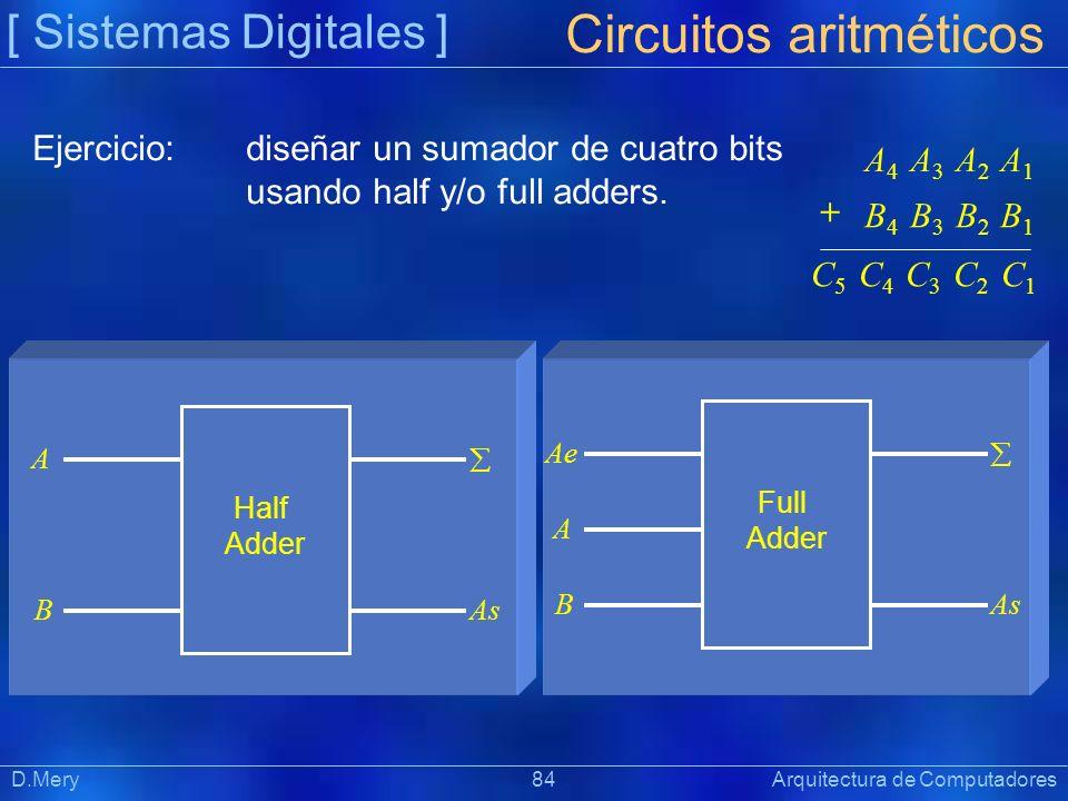 [ Sistemas Digitales ] Präsentat ion D.Mery 84 Arquitectura de Computadores Circuitos aritméticos Ejercicio:diseñar un sumador de cuatro bits usando h