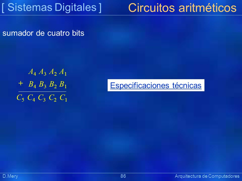 [ Sistemas Digitales ] Präsentat ion D.Mery 86 Arquitectura de Computadores Circuitos aritméticos A 4 A 3 A 2 A 1 B 4 B 3 B 2 B 1 + C 5 C 4 C 3 C 2 C
