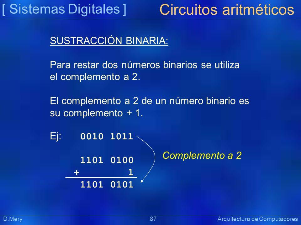 [ Sistemas Digitales ] Präsentat ion Circuitos aritméticos D.Mery 87 Arquitectura de Computadores SUSTRACCIÓN BINARIA: Para restar dos números binario