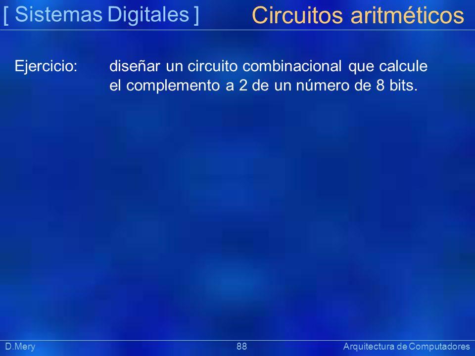 [ Sistemas Digitales ] Präsentat ion D.Mery 88 Arquitectura de Computadores Circuitos aritméticos Ejercicio:diseñar un circuito combinacional que calc