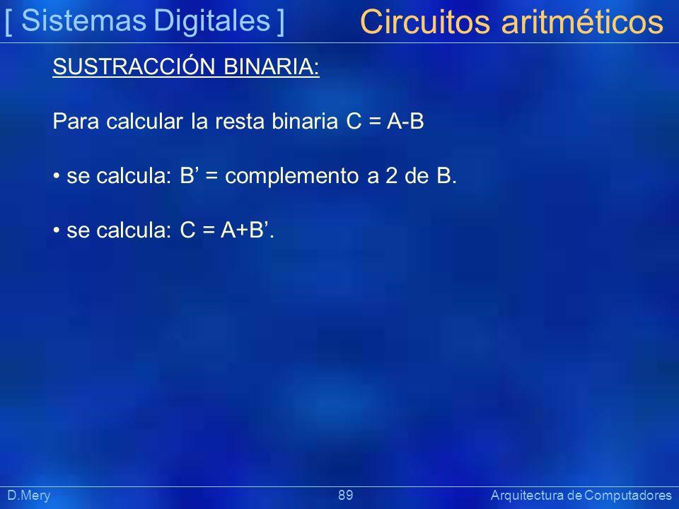 [ Sistemas Digitales ] Präsentat ion Circuitos aritméticos D.Mery 89 Arquitectura de Computadores SUSTRACCIÓN BINARIA: Para calcular la resta binaria