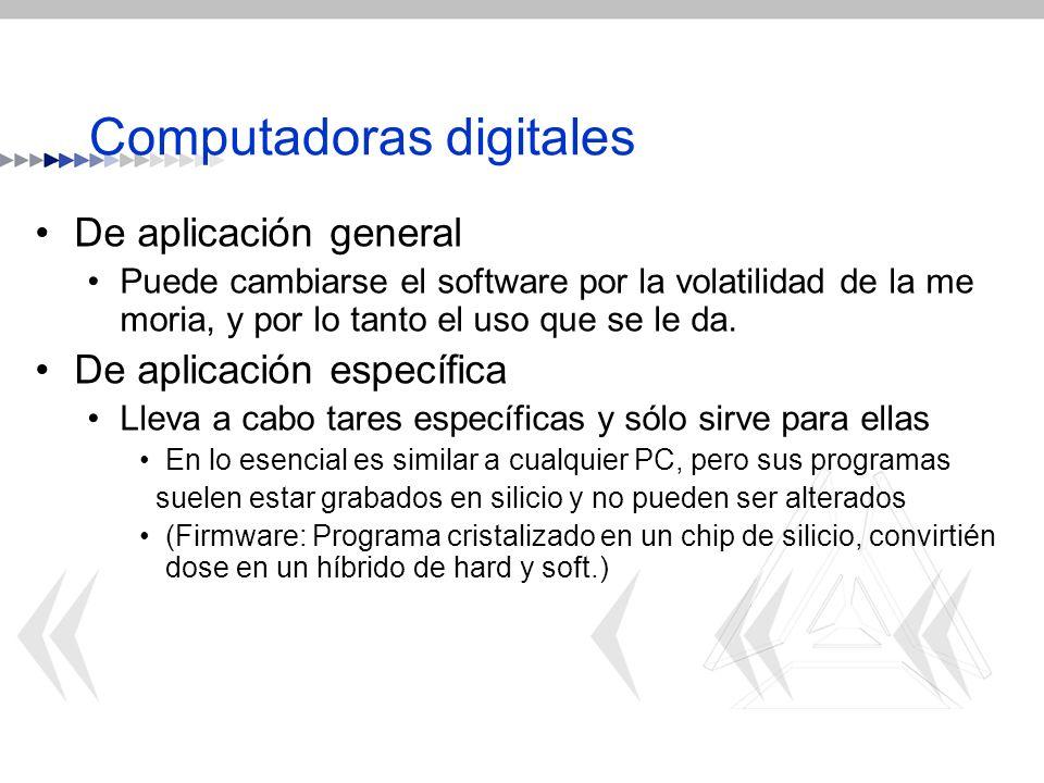 Computadoras digitales De aplicación general Puede cambiarse el software por la volatilidad de la me moria, y por lo tanto el uso que se le da. De apl
