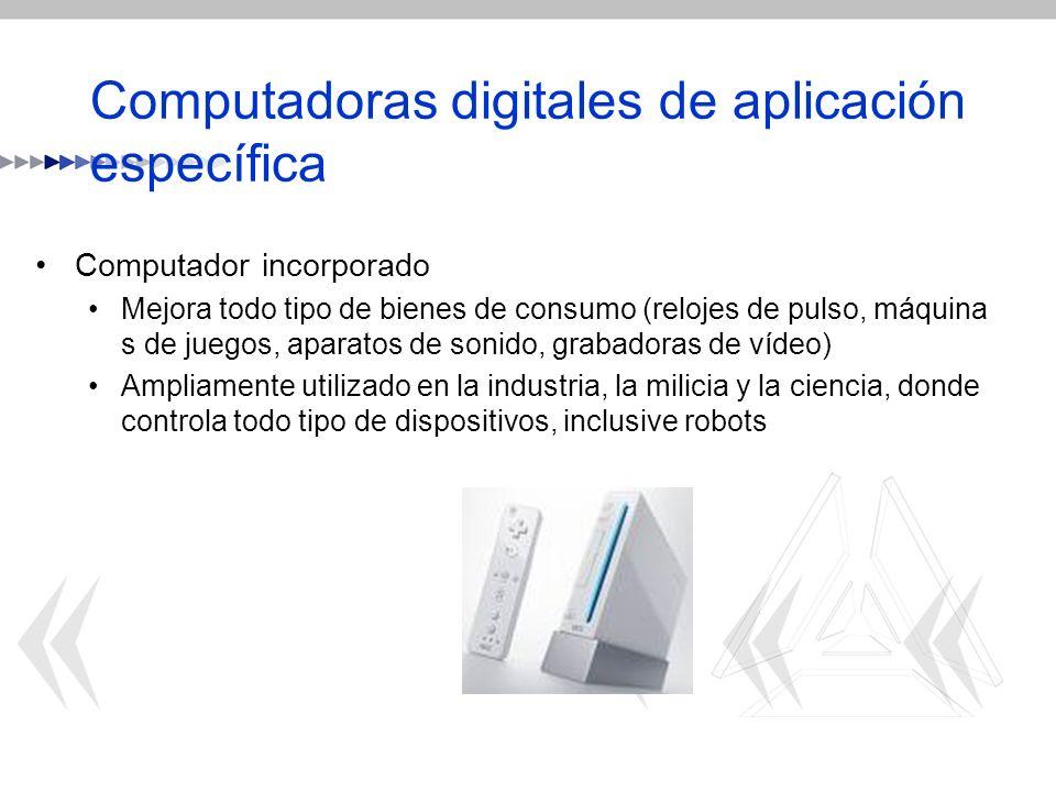 Computadoras digitales de aplicación específica Computador incorporado Mejora todo tipo de bienes de consumo (relojes de pulso, máquina s de juegos, a