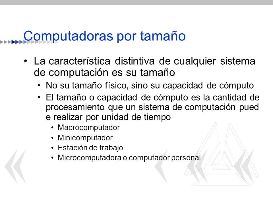 Computadoras por tamaño La característica distintiva de cualquier sistema de computación es su tamaño No su tamaño físico, sino su capacidad de cómput
