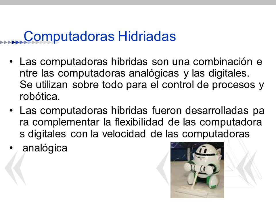 Computadoras Hidriadas Las computadoras hibridas son una combinación e ntre las computadoras analógicas y las digitales. Se utilizan sobre todo para e