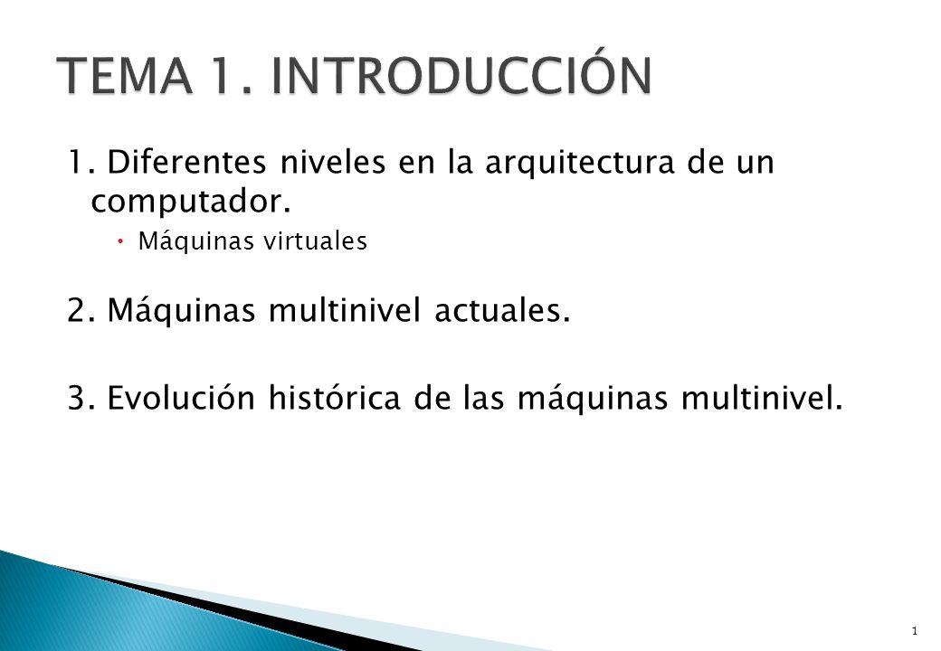 1. Diferentes niveles en la arquitectura de un computador. Máquinas virtuales 2. Máquinas multinivel actuales. 3. Evolución histórica de las máquinas