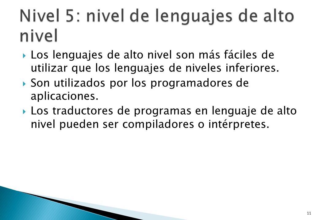 Los lenguajes de alto nivel son más fáciles de utilizar que los lenguajes de niveles inferiores. Son utilizados por los programadores de aplicaciones.
