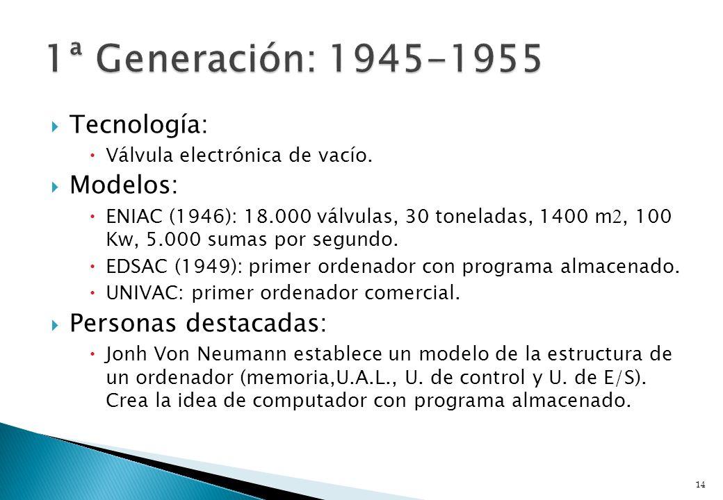 Tecnología: Válvula electrónica de vacío. Modelos: ENIAC (1946): 18.000 válvulas, 30 toneladas, 1400 m, 100 Kw, 5.000 sumas por segundo. EDSAC (1949):
