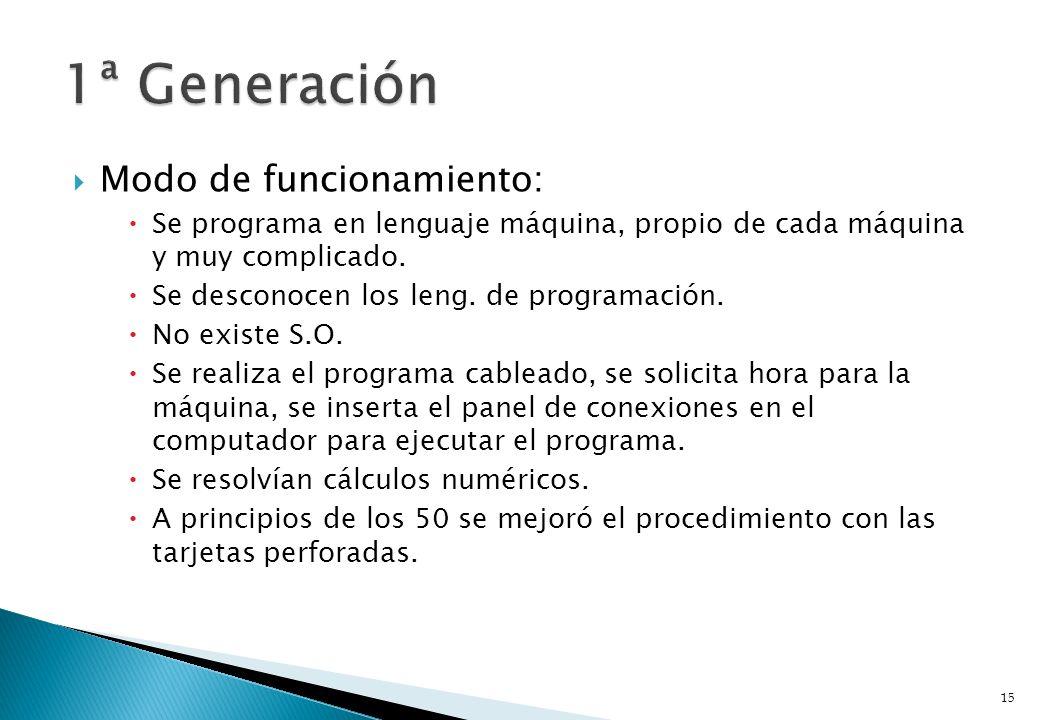 Modo de funcionamiento: Se programa en lenguaje máquina, propio de cada máquina y muy complicado. Se desconocen los leng. de programación. No existe S