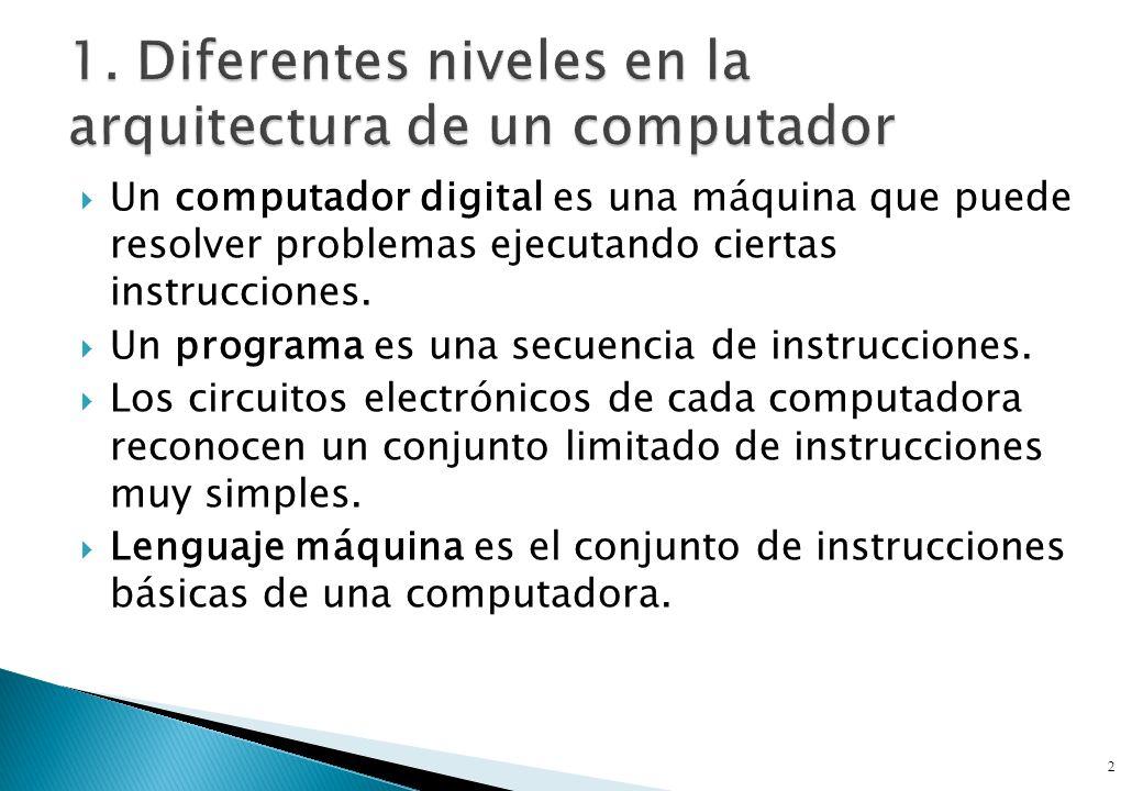 Un computador digital es una máquina que puede resolver problemas ejecutando ciertas instrucciones. Un programa es una secuencia de instrucciones. Los