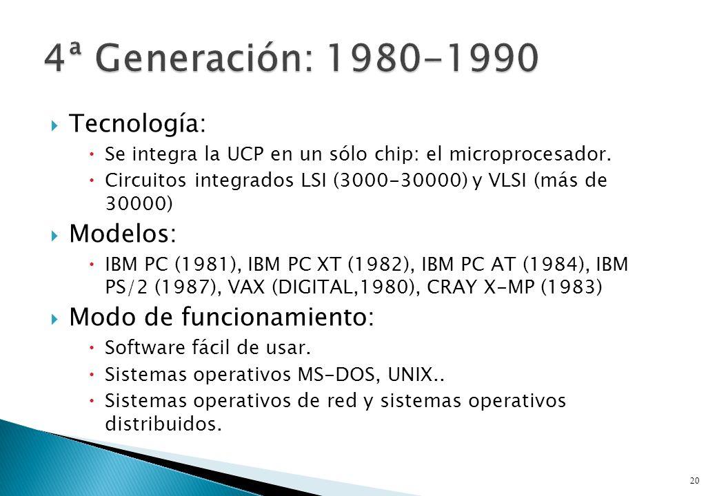 Tecnología: Se integra la UCP en un sólo chip: el microprocesador. Circuitos integrados LSI (3000-30000) y VLSI (más de 30000) Modelos: IBM PC (1981),