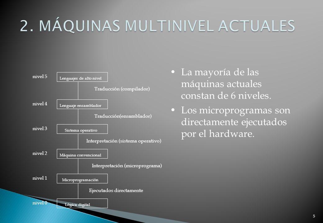 5 La mayoría de las máquinas actuales constan de 6 niveles. Los microprogramas son directamente ejecutados por el hardware. Lenguajes de alto nivel Le