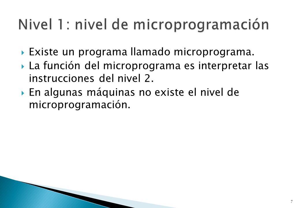 Existe un programa llamado microprograma. La función del microprograma es interpretar las instrucciones del nivel 2. En algunas máquinas no existe el