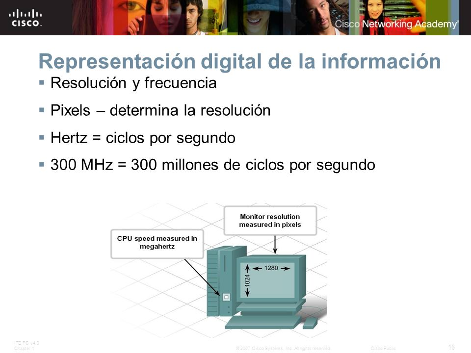 ITE PC v4.0 Chapter 1 16 © 2007 Cisco Systems, Inc. All rights reserved.Cisco Public Representación digital de la información Resolución y frecuencia