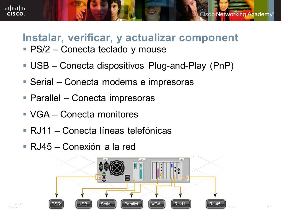 ITE PC v4.0 Chapter 1 27 © 2007 Cisco Systems, Inc. All rights reserved.Cisco Public Instalar, verificar, y actualizar component PS/2 – Conecta teclad