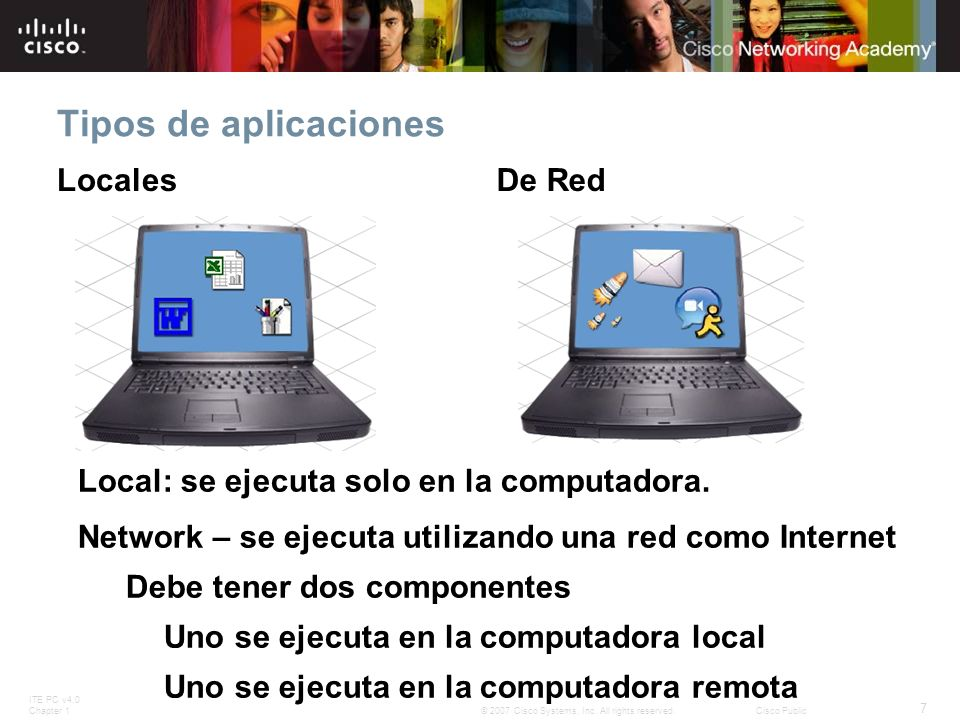 ITE PC v4.0 Chapter 1 7 © 2007 Cisco Systems, Inc. All rights reserved.Cisco Public Tipos de aplicaciones LocalesDe Red Local: se ejecuta solo en la c