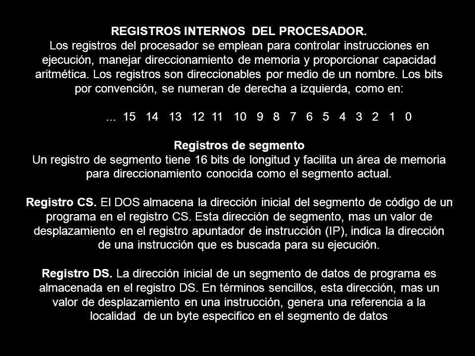 REGISTROS INTERNOS DEL PROCESADOR. Los registros del procesador se emplean para controlar instrucciones en ejecución, manejar direccionamiento de memo