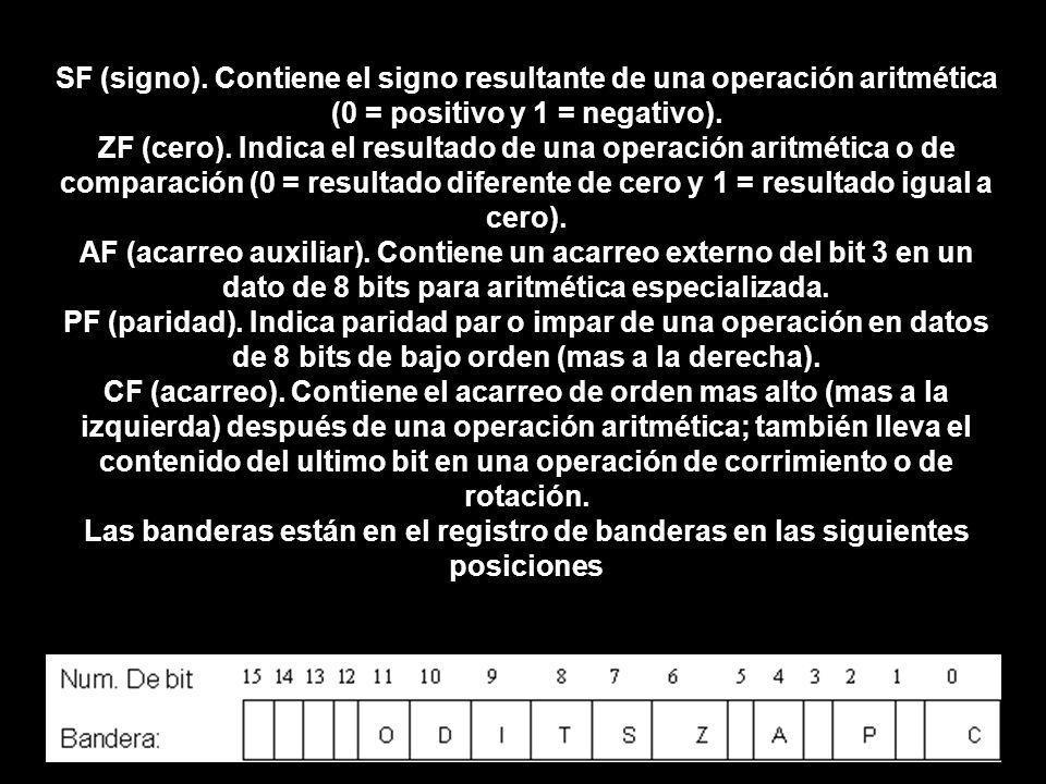 SF (signo). Contiene el signo resultante de una operación aritmética (0 = positivo y 1 = negativo). ZF (cero). Indica el resultado de una operación ar