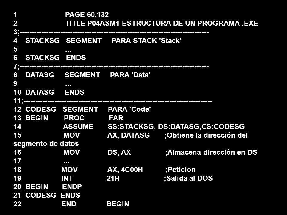1 PAGE 60,132 2 TITLE P04ASM1 ESTRUCTURA DE UN PROGRAMA.EXE 3;------------------------------------------------------------------------------- 4 STACKS