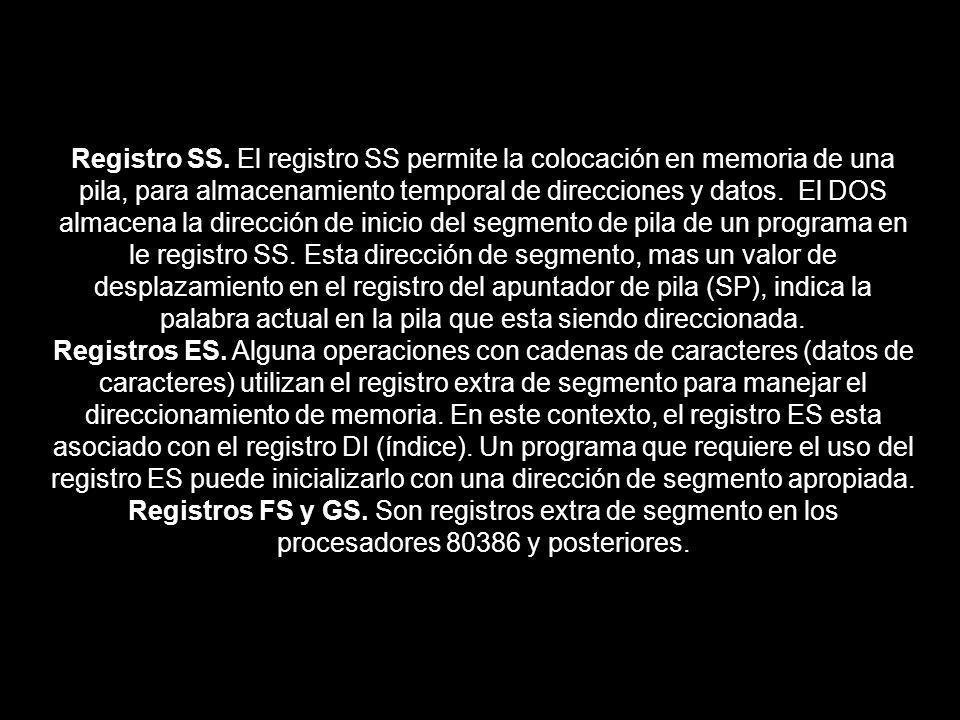 Registro SS. El registro SS permite la colocación en memoria de una pila, para almacenamiento temporal de direcciones y datos. El DOS almacena la dire