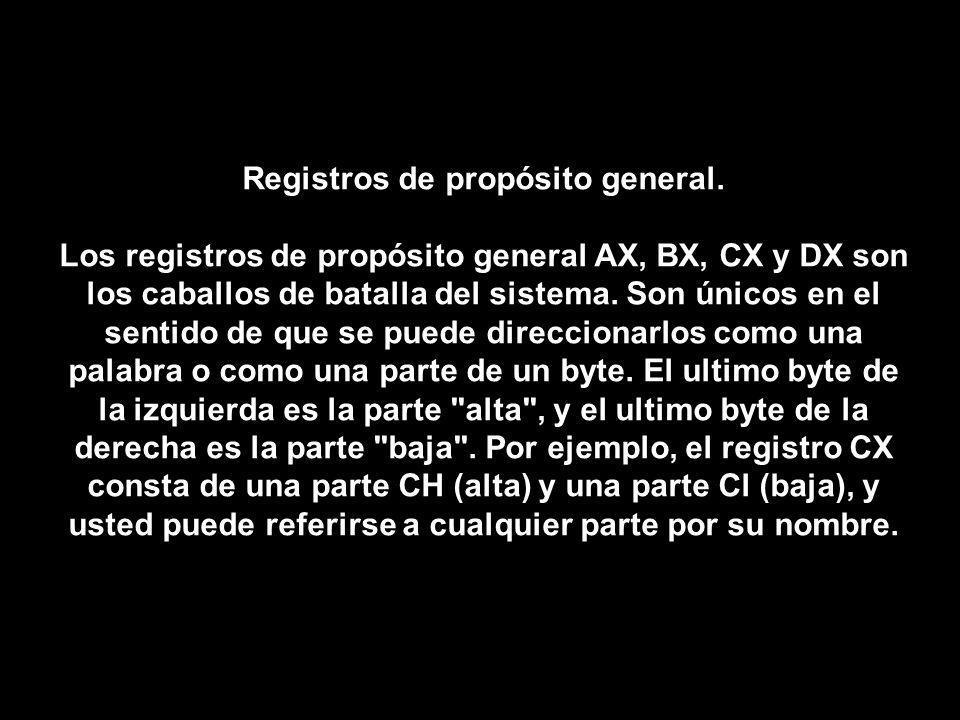 Registros de propósito general. Los registros de propósito general AX, BX, CX y DX son los caballos de batalla del sistema. Son únicos en el sentido d