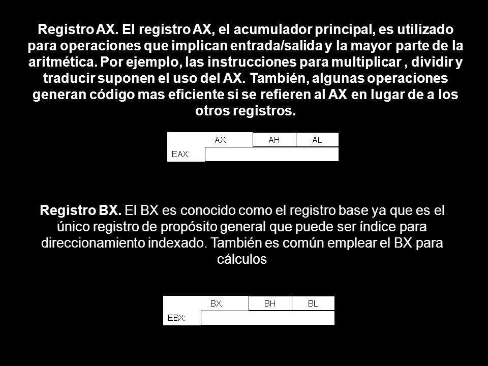 Registro AX. El registro AX, el acumulador principal, es utilizado para operaciones que implican entrada/salida y la mayor parte de la aritmética. Por