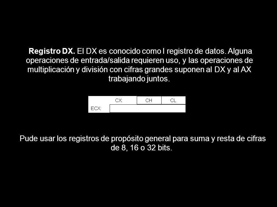 Registro DX. El DX es conocido como l registro de datos. Alguna operaciones de entrada/salida requieren uso, y las operaciones de multiplicación y div