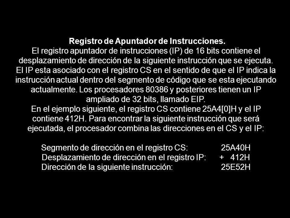 Registro de Apuntador de Instrucciones. El registro apuntador de instrucciones (IP) de 16 bits contiene el desplazamiento de dirección de la siguiente