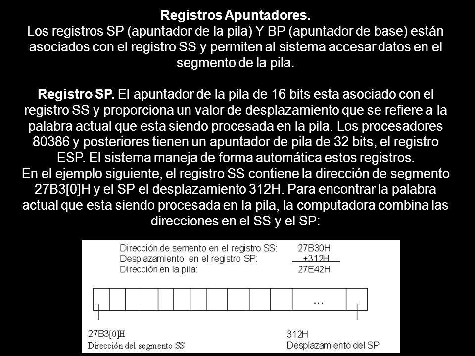 Registros Apuntadores. Los registros SP (apuntador de la pila) Y BP (apuntador de base) están asociados con el registro SS y permiten al sistema acces