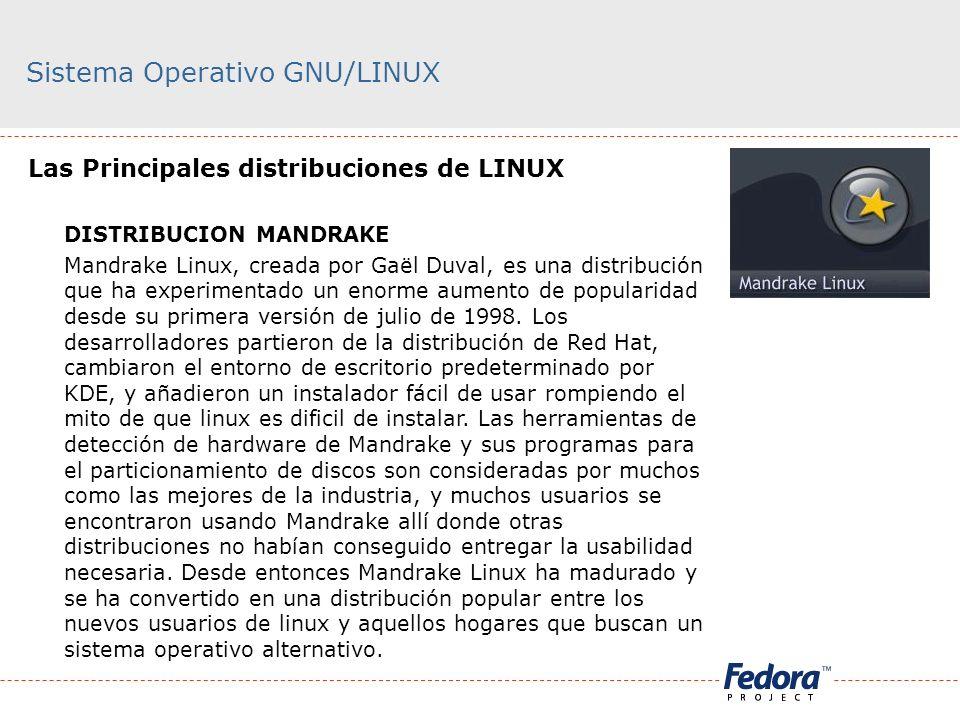 Sistema Operativo GNU/LINUX Las Principales distribuciones de LINUX DISTRIBUCION MANDRAKE Mandrake Linux, creada por Gaël Duval, es una distribución q