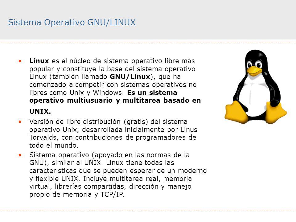 Sistema Operativo GNU/LINUX Linux es el núcleo de sistema operativo libre más popular y constituye la base del sistema operativo Linux (también llamad