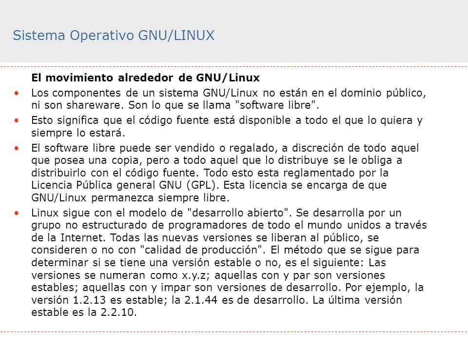 Sistema Operativo GNU/LINUX El movimiento alrededor de GNU/Linux Los componentes de un sistema GNU/Linux no están en el dominio público, ni son sharew