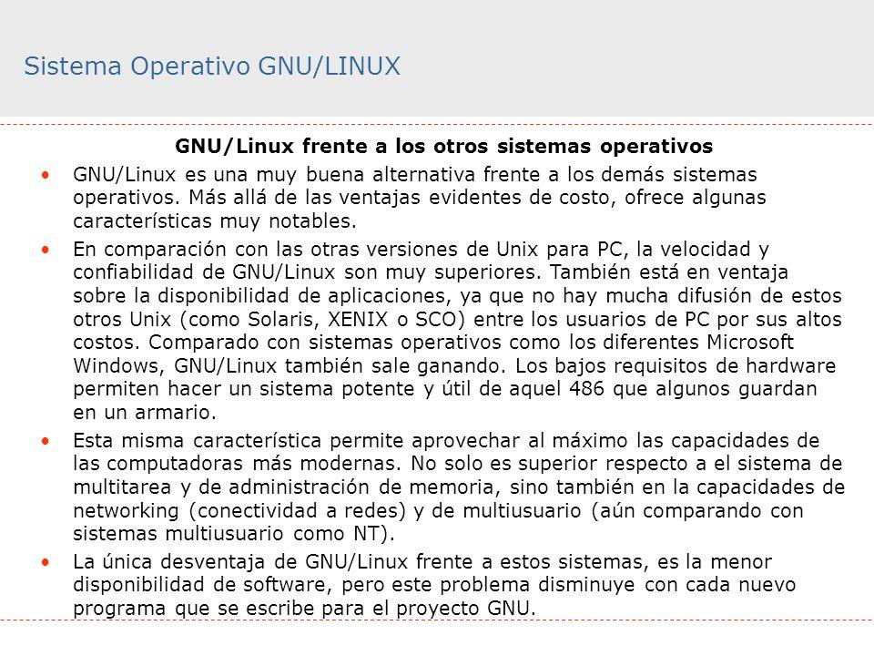 Sistema Operativo GNU/LINUX GNU/Linux frente a los otros sistemas operativos GNU/Linux es una muy buena alternativa frente a los demás sistemas operat